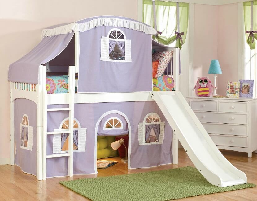 This tent bed's sturdy wood construction and cheerful white finish makes it ideal for your little majesty. Your little majesty can sleep in the cozy tent bed to make it more fun. The tent can also be removed once your child grows older.