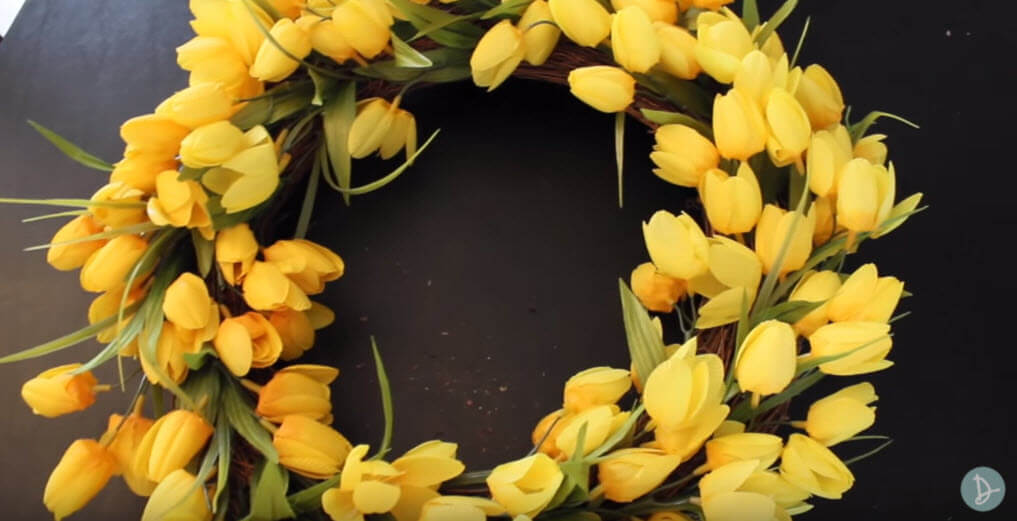 Full and dense Spring front door wreath