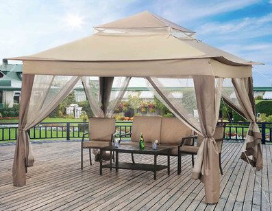 This simple pop-up gazebo has a two-tiered roof that lends it a lot more style than a simple flat roof. Like most canvas gazebos, it has the dual sides, screens and curtains.