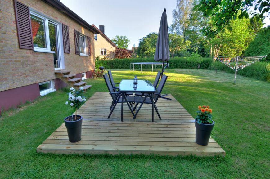 Here's another great example of a fun, minimalist floating deck that provides a simple but effective place to relax or dine outdoors.