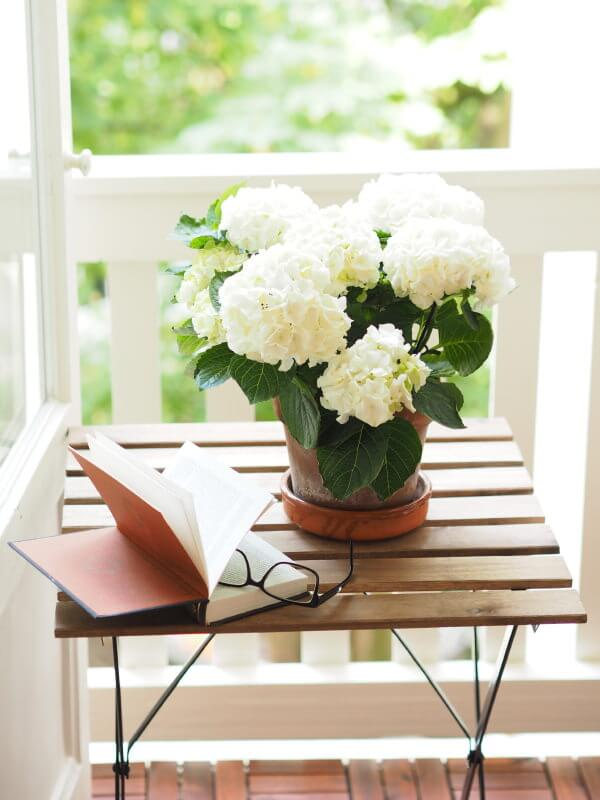 If you are using a simple brown vase and would like to use it on top of a wooden table in your porch, why not use a small batch of white hydrangeas to add a more rustic feel?