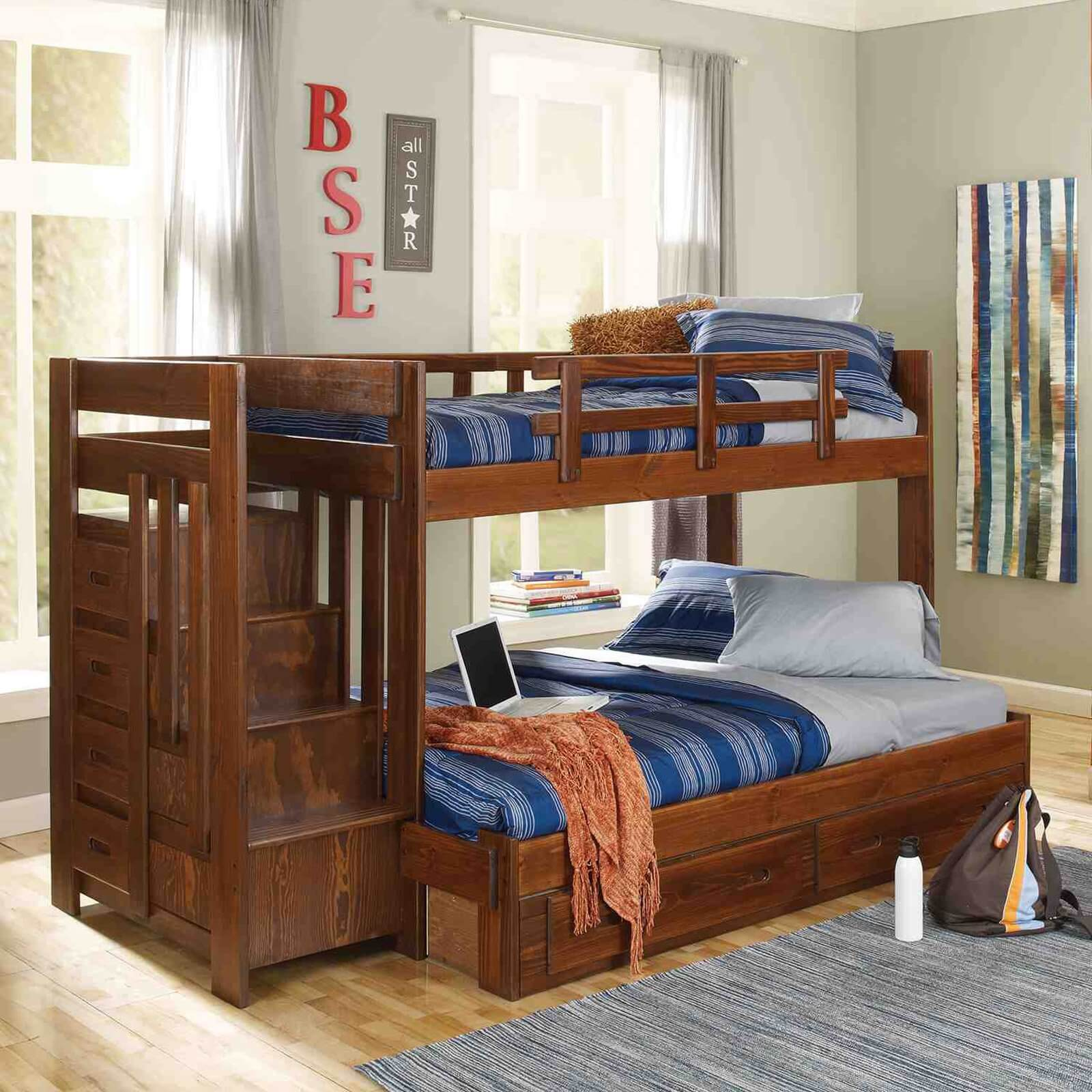 Twin over Full Reversible Stair Bunk Bed