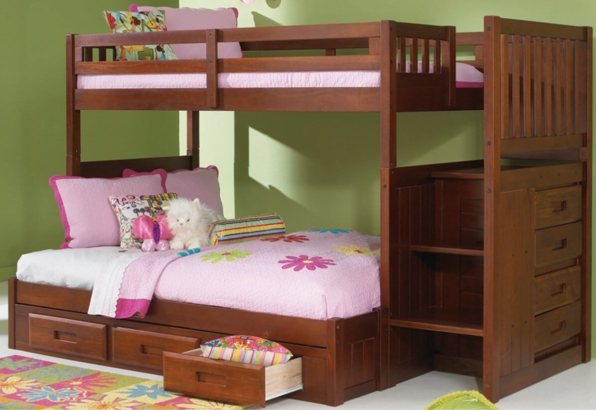 Twin over Full Bunk Bed with 3 Drawer Staircase