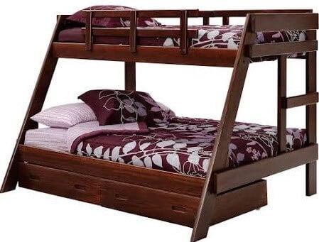 Dark Pine Twin over Full Wooden Bunk Bed