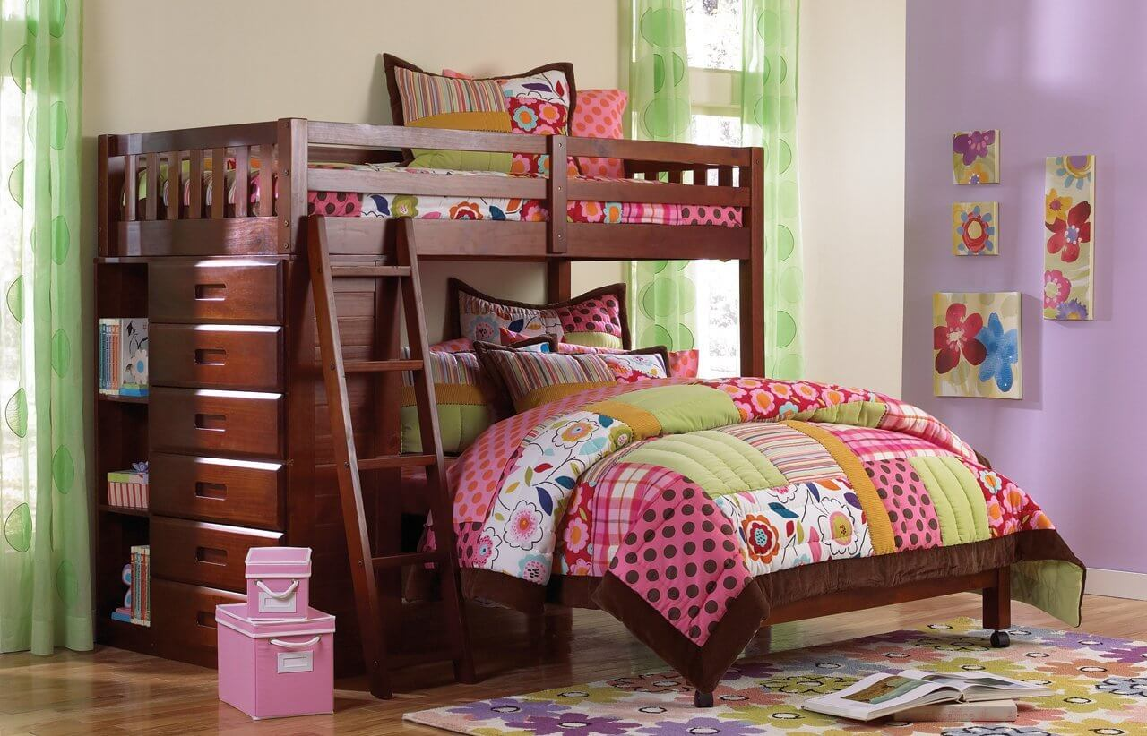 Twin over Full Loft Bed with a Merlot Finish