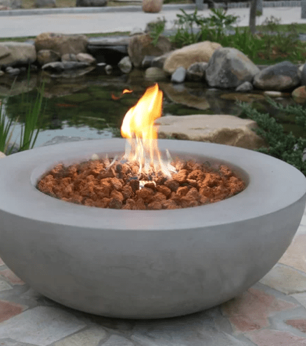 Concrete fire bowl for the patio