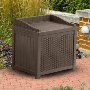 A cube-shaped storage bench seat makes a convenient seat or table when the lid is down.