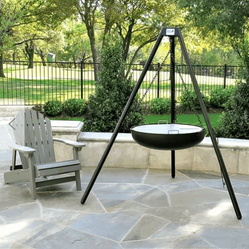 Hanging fire pit on the patio