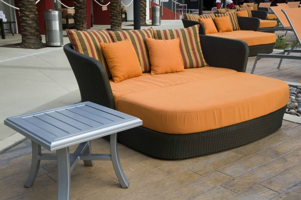 Large double chaise lounge patio sofa (dark brown and orange)