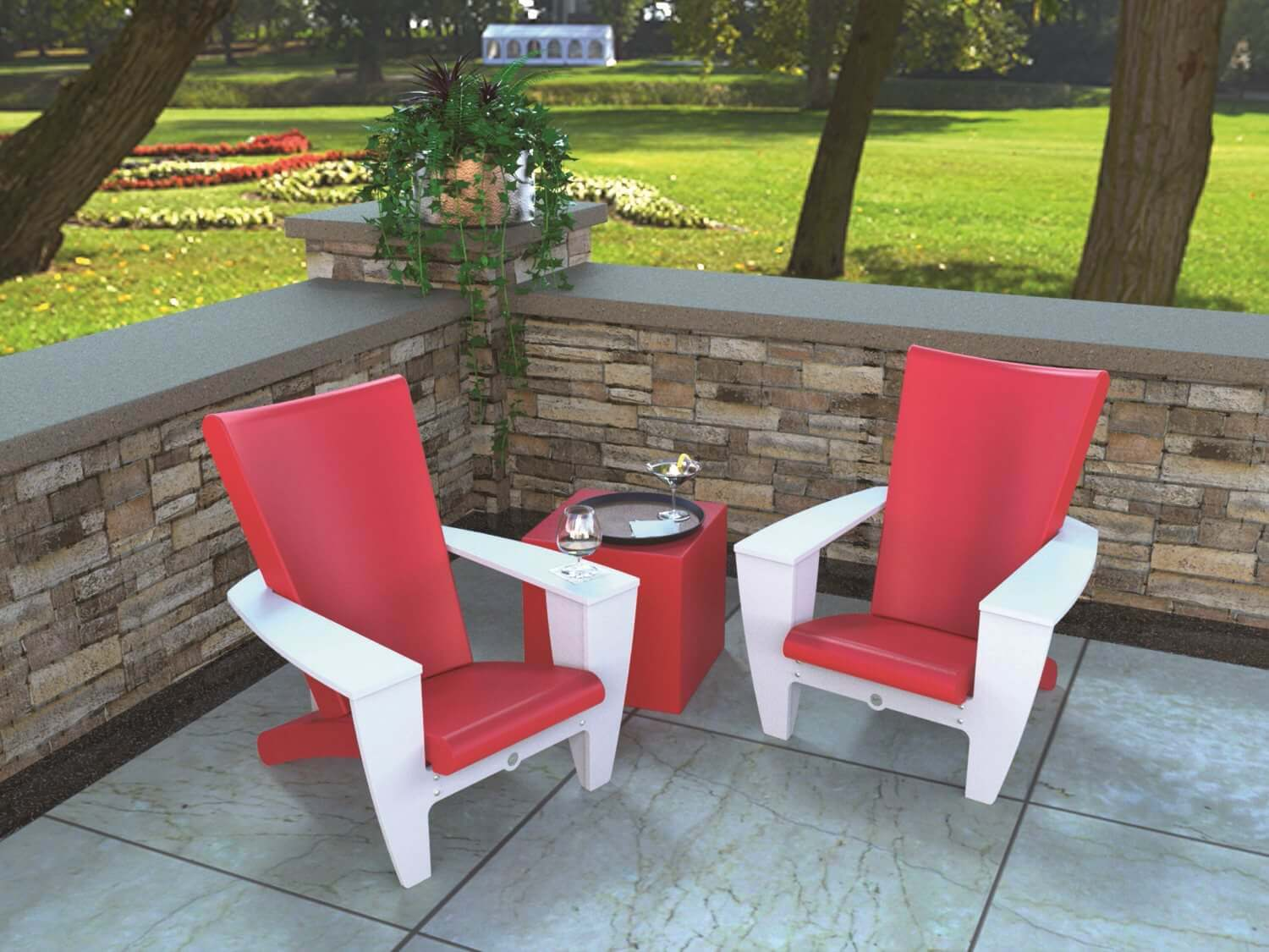 Contemporary red and white Adirondack chairs with matching small red table