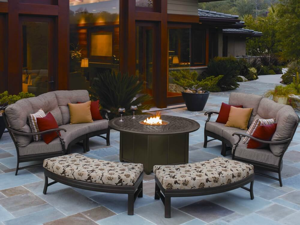 Contemporary curved patio sofas and benches