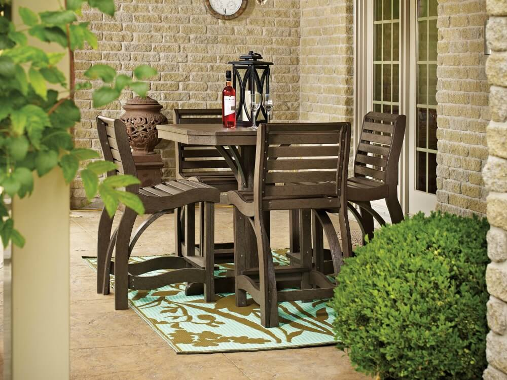 Traditional natural wood small patio dining table for 4 people