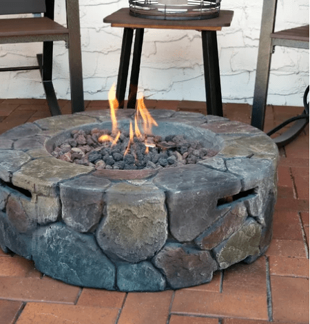 Round fire pit example.