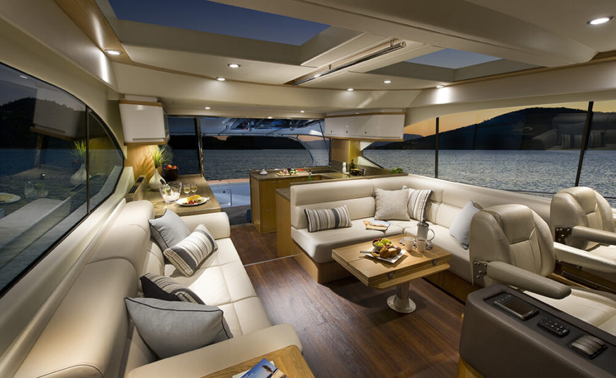 When your pieces are custom built you can squeeze every usable inch out of your furniture. This boat is equipped with custom furniture that fits snugly between other pieces. Precision is important when space is a commodity.