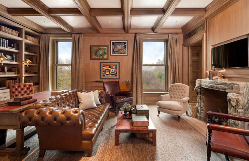 A customized Chesterfield sofa will bring an element of elegant class to your home office or den.