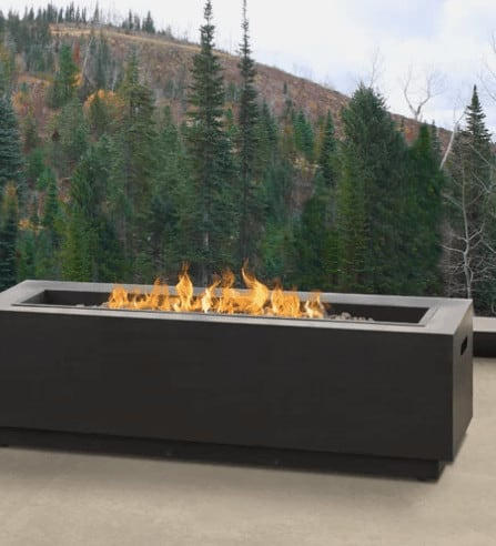 Long rectangle natural-gas fuelled patio fire pit.