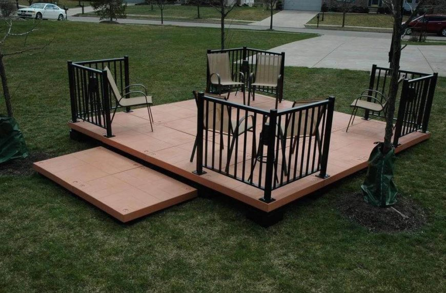 Here's an easy way to get your own floating deck at home without a lot of work. The prefabricated pieces can be snapped together and set up within a day.