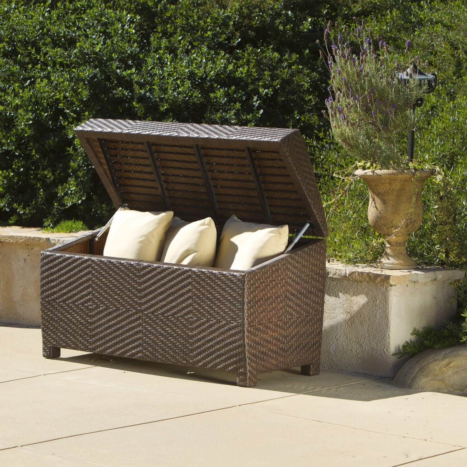 Sturdy feet, lots of interior storage space and a diamond patterned weave make this ottoman bin a great choice for dining sets and outdoor living rooms.