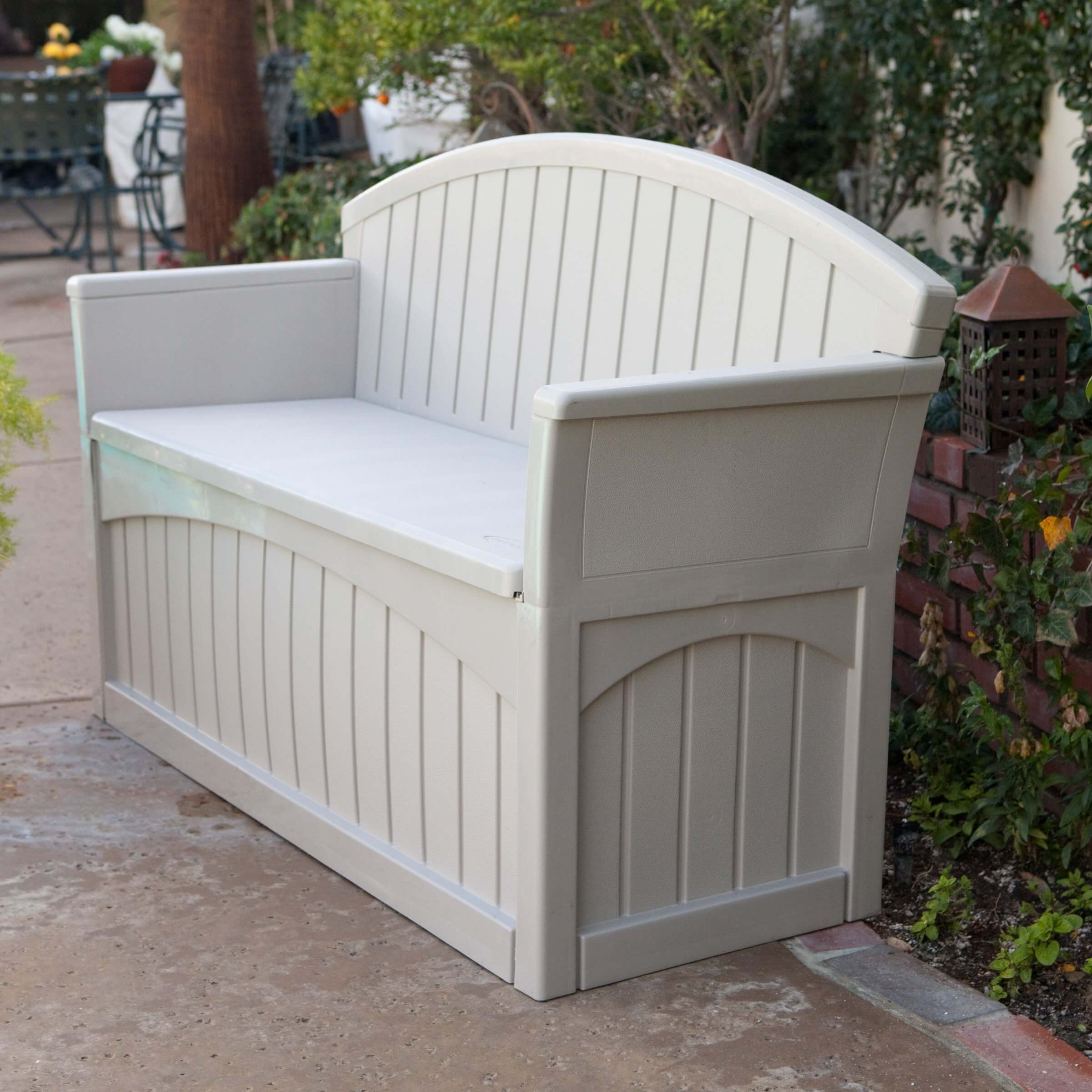 Store seat cushions, towels, outdoor décor or garden accessories in the under seat storage of this attractive storage bench.