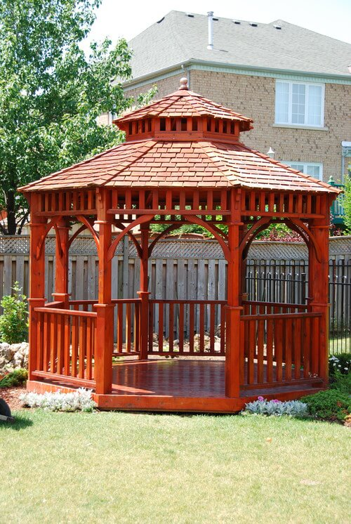 Since wood can be stained or colored in any way you wish you can modify the look of the wooden gazebo to fit your style. This richly colored gazebo is finished and stained to give a vibrant look that stands out and makes an impression.#