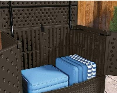 Made of weather-resistant polypropylene, the wicker look of the resin panels makes this vertical storage box an attractive and sturdy addition to your deck. It measures 41 inches high and offers 195 gallons of storage space. T