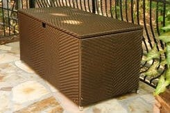 This all-weather wicker storage box (links to Amazon) is stain-, split- and water-resistant.
