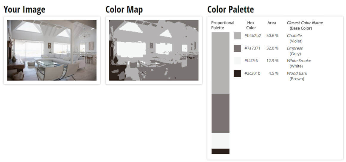 Color Palette for Mute Grey, Violet, White and Brown Living Room Color Scheme