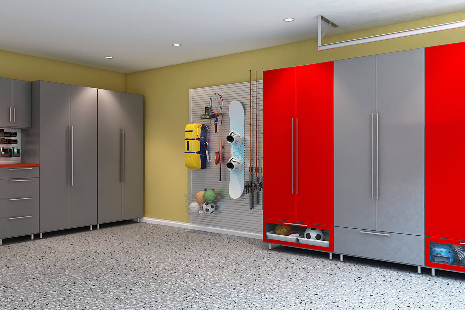 The industrial look of the tall steel gray melamine cabinets is contrasted by the boldness of red creating a playful vibe for the garage. Underneath the cabinets are storage areas where you can store smaller items.