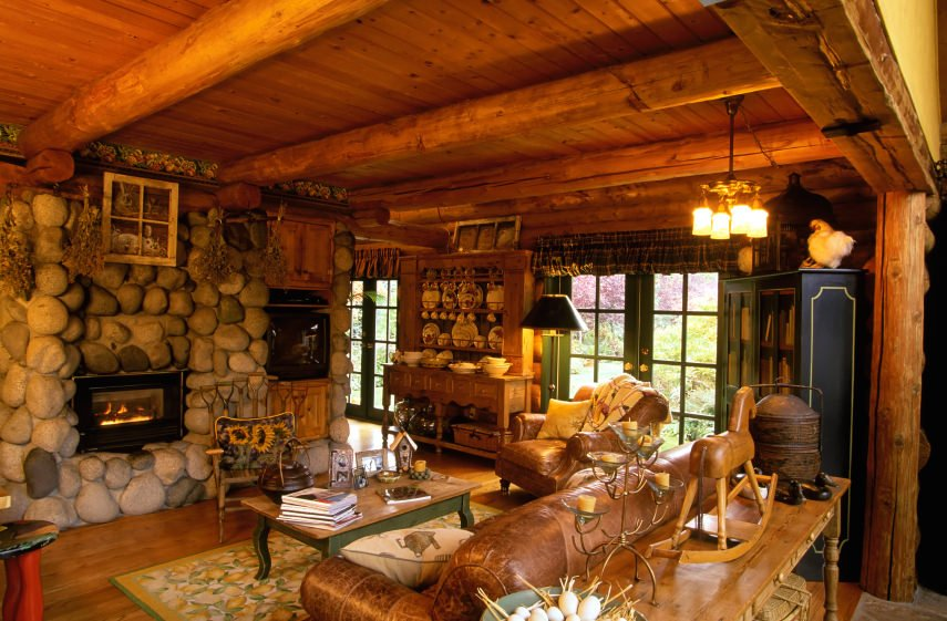 Very eclectic with a few timeworn items like the pots, stone fireplace and nature-filled motif with all the animal and flower additions.