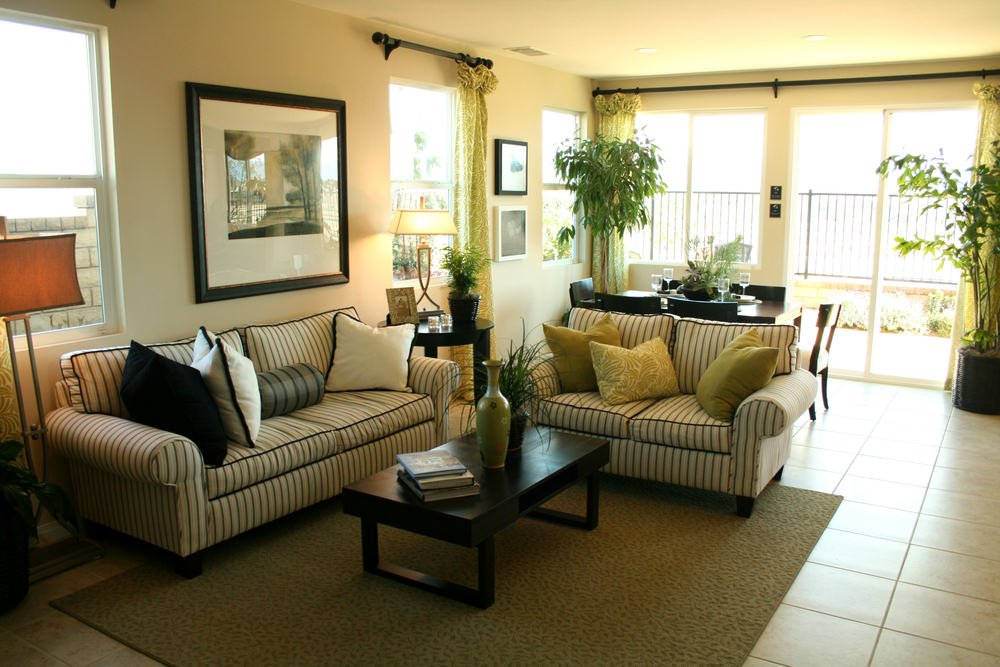 This is becoming of a more traditional style. Because of the extra soft pillows on a sumptuous sofa and warm color choices, it makes a simple example of traditional living room.