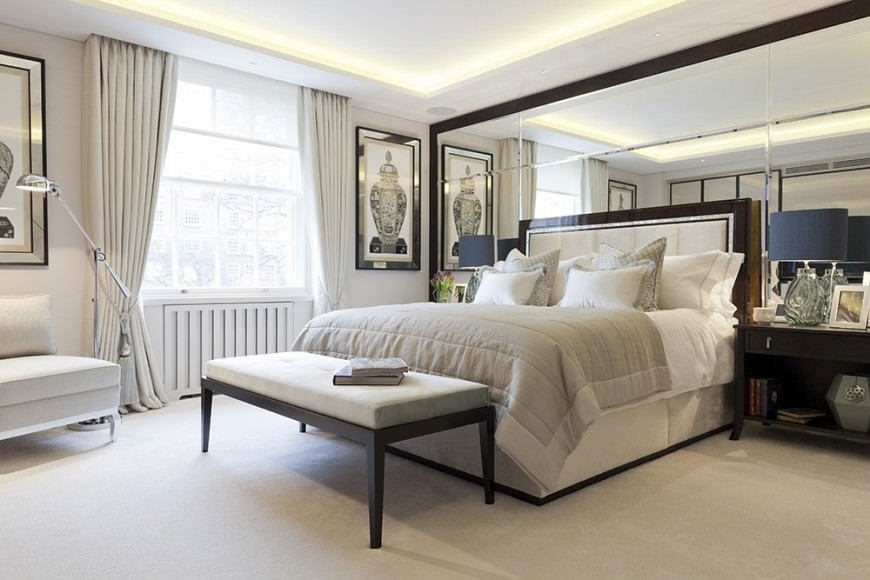 Neutral tones in combination with white carpet that runs through the entire room makes it really attractive.