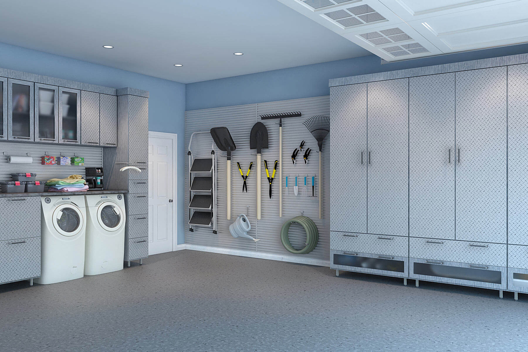 The garage's melamine cabinets and uppers with Lucite inserts easily steal your attention. Everything fits perfectly in the room even with the laundry and storage area finding their rightful places in the shared space of the garage.