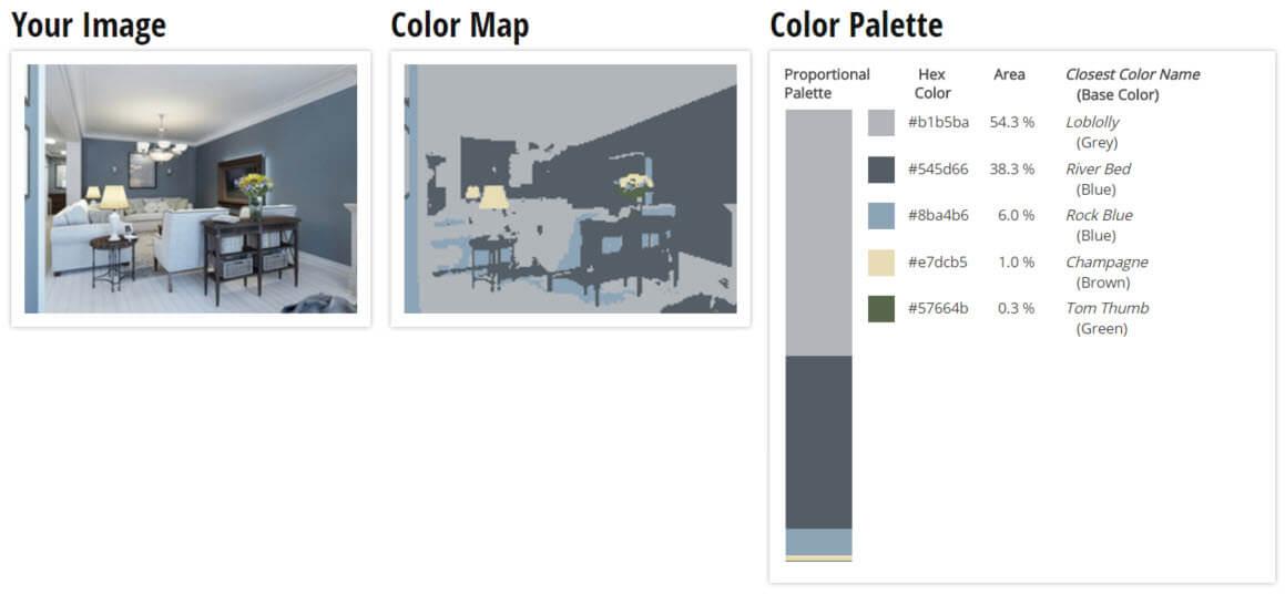 Color Palette for Blue, Grey and Light Brown Living Room Color Scheme