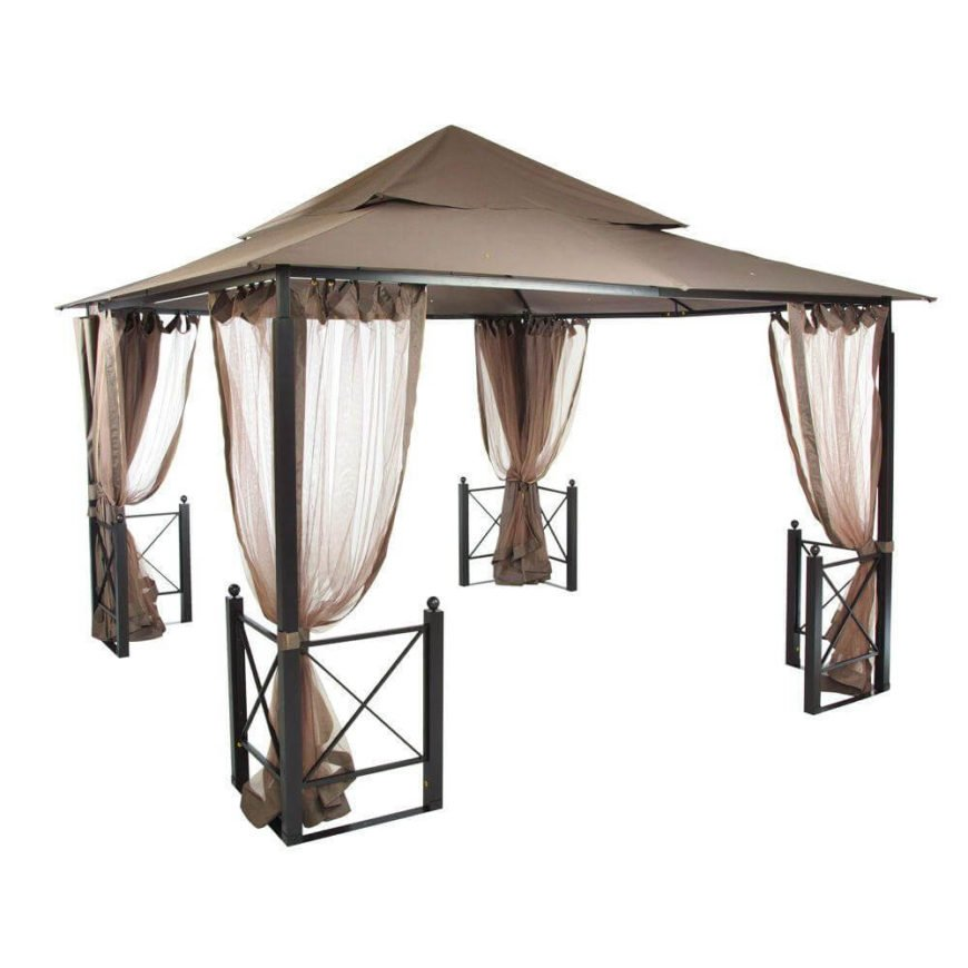Similarly elegant to the model above, this large gazebo provides an abundance of space and options for both closing off and completely opening the sides. The small fences on the legs help define the interior.