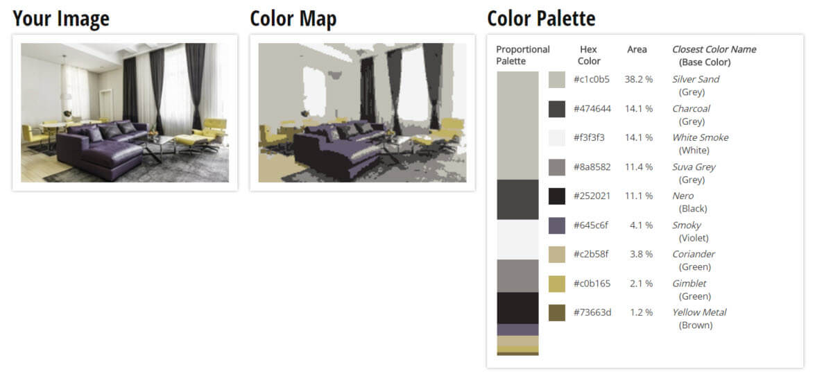 Color Palette for Lush Violet, Dark Grey, White/Grey and Light Yellow Living Room Color Scheme