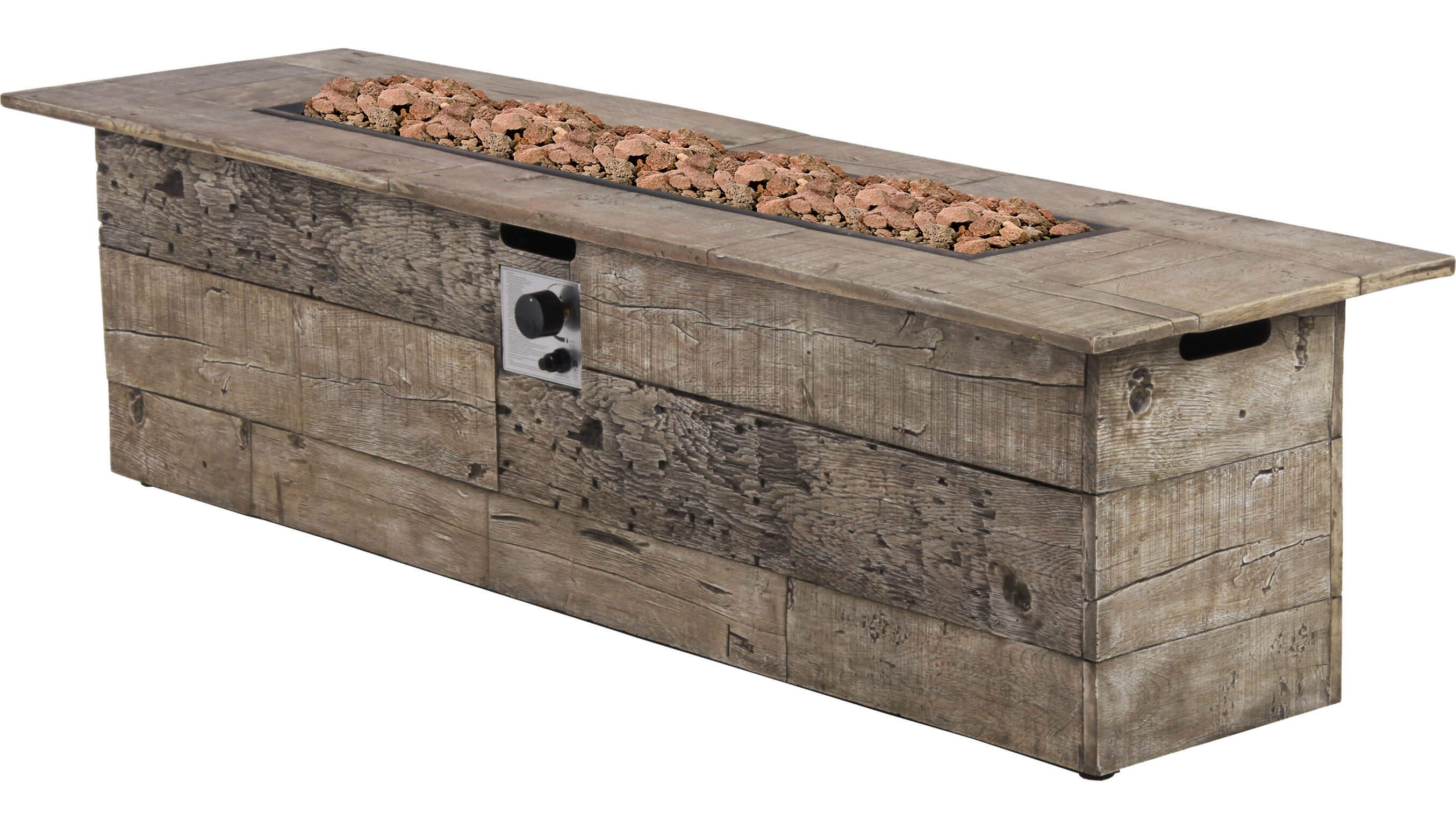 Want a fire pit that looks like a normal pile of wood at first glance? Why not get this beautiful rectangular propane fire pit? It has a natural wood finish and its burner is made out of stainless steel. It also is capable of producing heat up to 70,000 BTUs and comes with its very own cover for weather resistance.