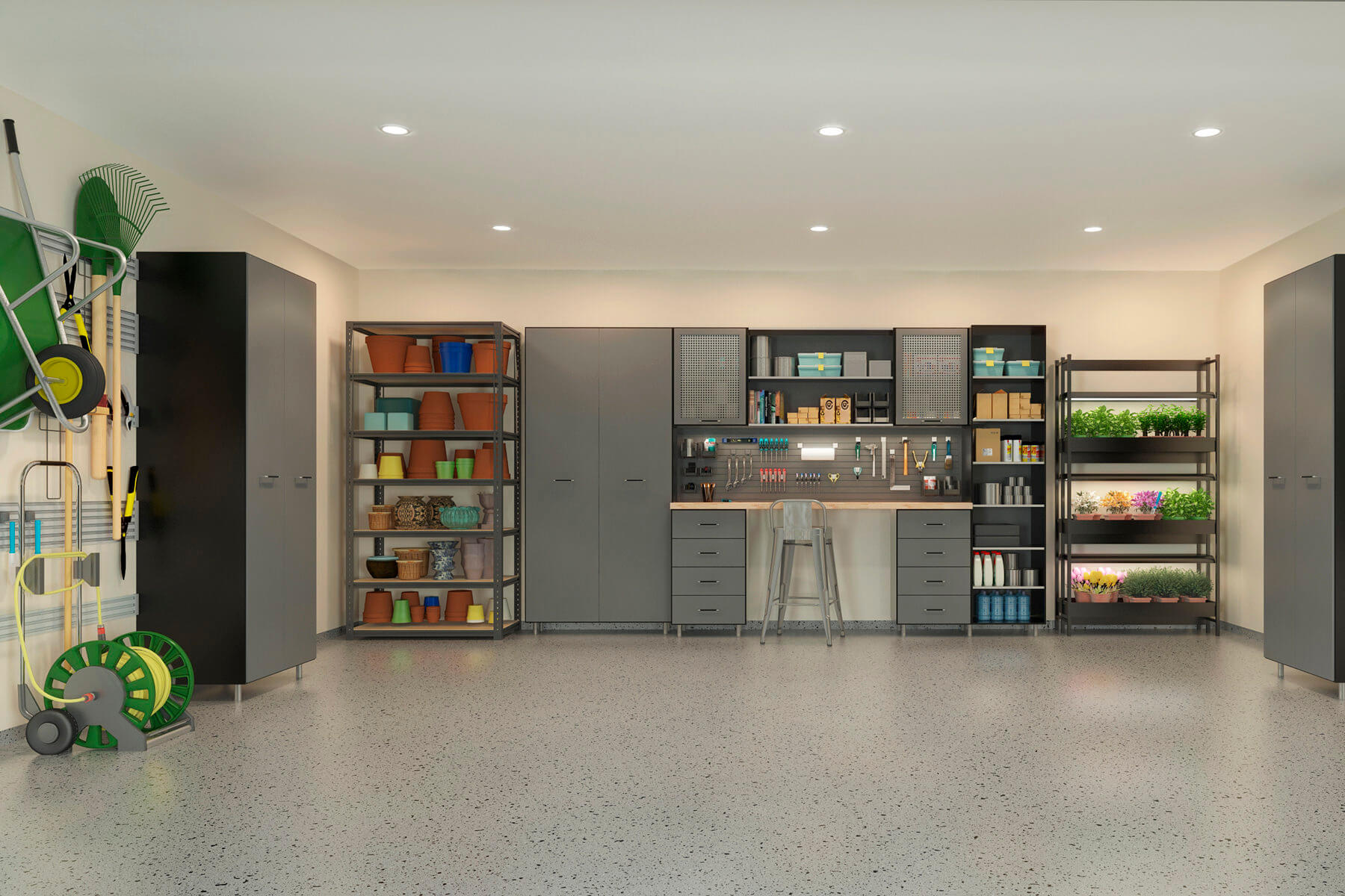 This garage obviously takes its influence from industrial design with extravagant use of gray in steel shelving and gray doors on melamine boxes. The cold aura of the heavy duty design is set off by an assortment of earth colors.