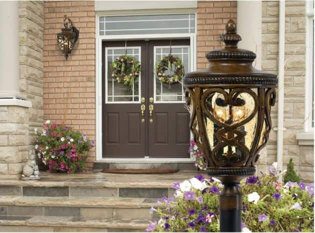 Decorative post lantern in front yard.