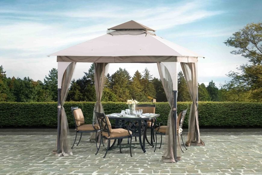Packing in a full 100 square feet of space, this handsome canopy gazebo is the perfect size for outdoor dining, with plenty of room for a full dining table and chairs. The side curtains can be parted for full openness or closed off for bug protection.