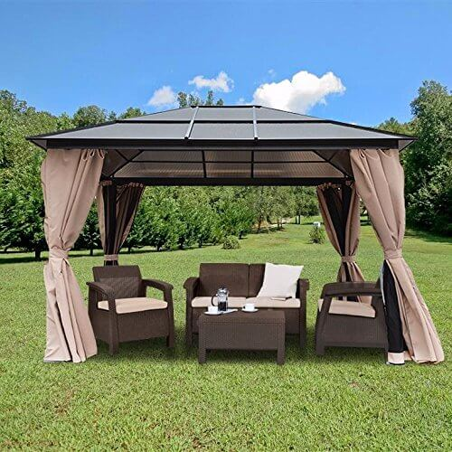 The strong aluminum poles make for a heavy duty structure, as does the solid roof. Cloth side wraps can be drawn together for ultimate bug protection.