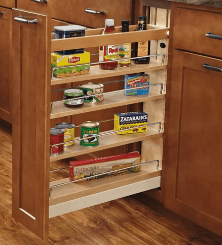 A concealed pull-out spice rack, perfect to install in your kitchen counters or cabinetry. A space-saver that has a cool design.