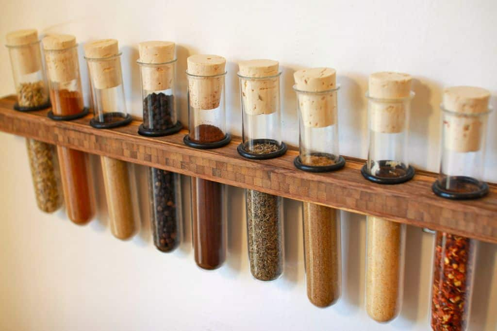 DIY test tube wall mounted spice rack