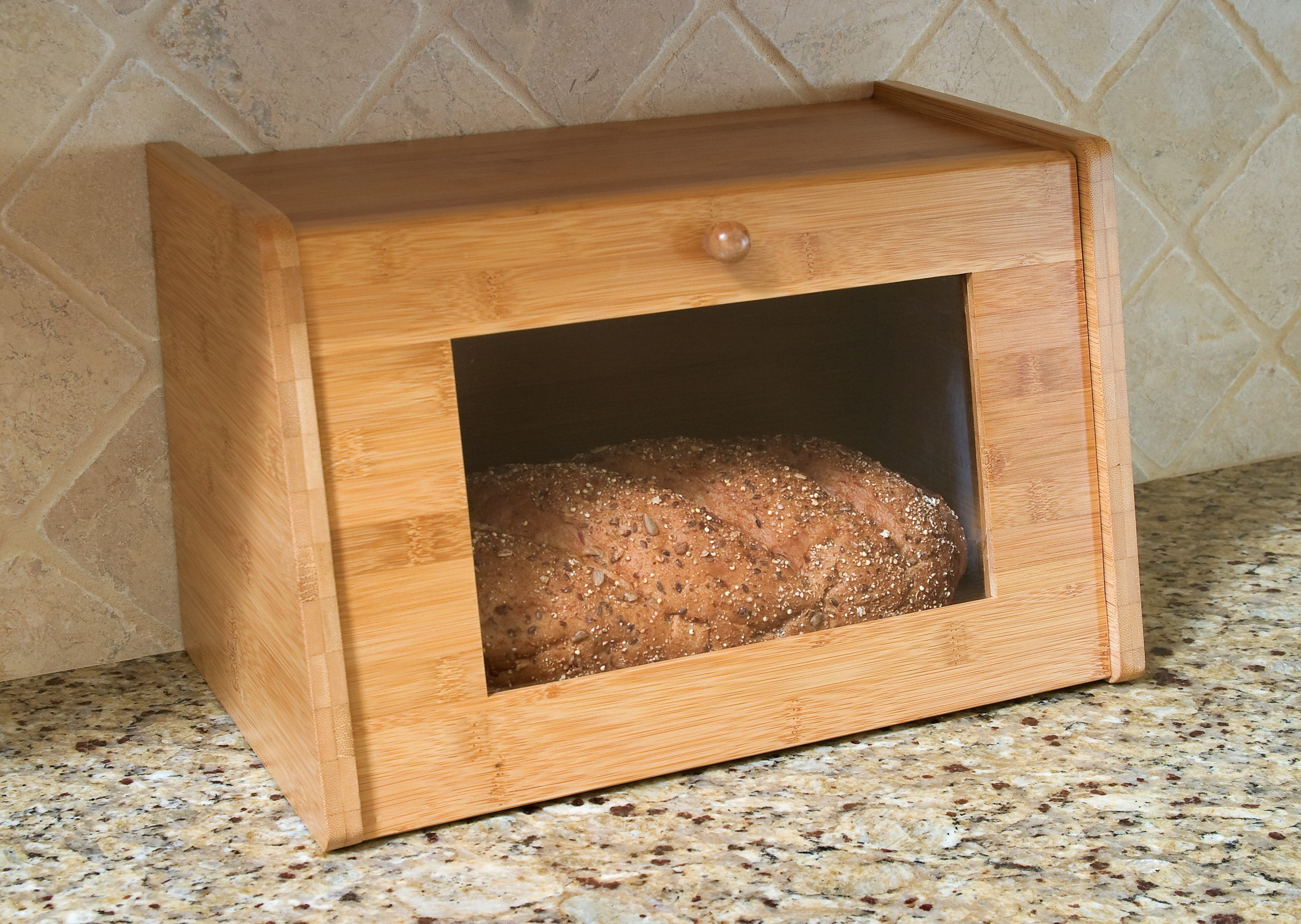 A Hinged bread box is one of the most common bread boxes around. This bread box comes with a handy window on the door, allowing you to see how much bread is left.
