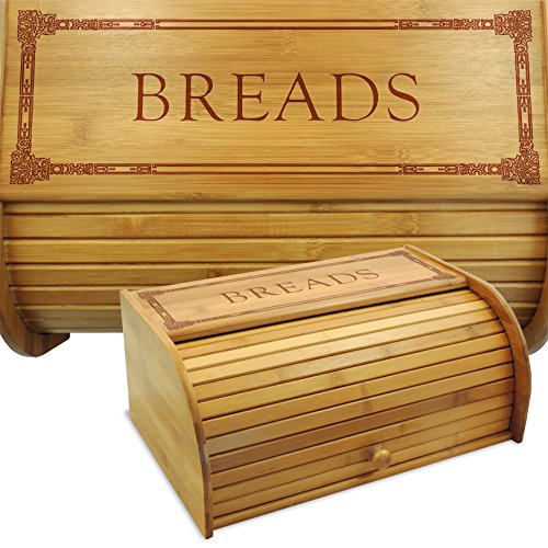 The roll-top style breadbox is a great space saver. It offers a classic design, that will add a country home style feel to your kitchen.