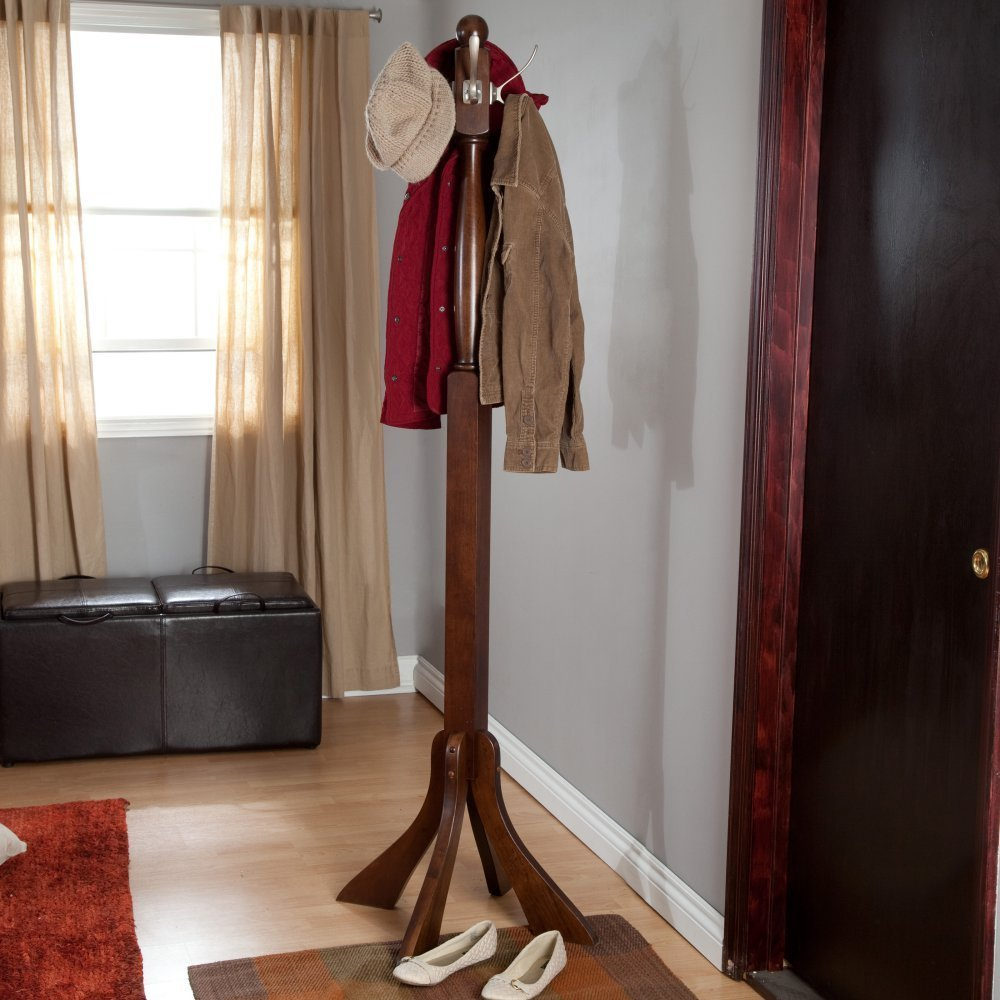 This hardwood coat rack features classic metal hooks and is done in a warm walnut finish.