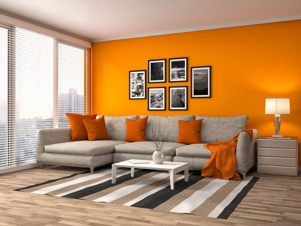 Orange never fails to give life to a dim and lonely living room. The wall in bright and cheerful orange is supported with the orange throw pillows and orange cloth resting on the sofa.