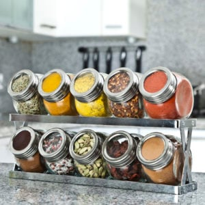 Spice rack on the counter