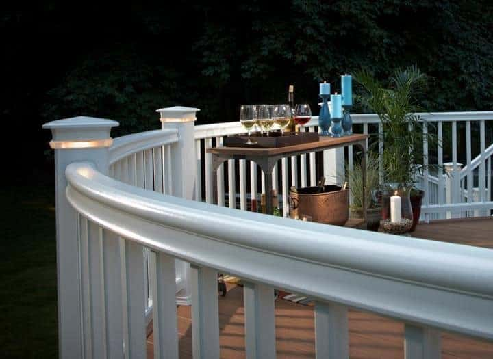 Outdoor railing with lights.