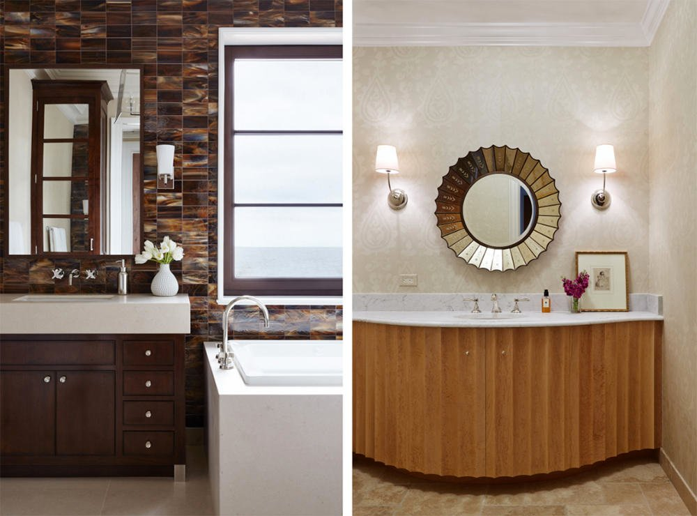 Only one to two geometric forms are present like the rounded decorative mirror, rectangular frame, tiles and drawer designs. Simple lines and curves are also present with usual warm tone paint and color combination. Wood tone never misses an appearance.