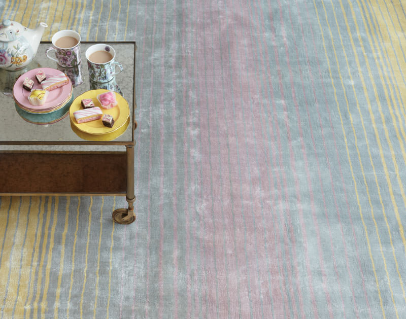 Yellow blue and pink rug